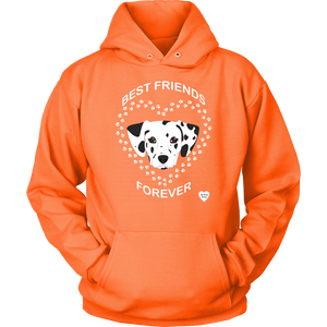 Dalmatian Best Friends Forever Hoodie Neon Orange
