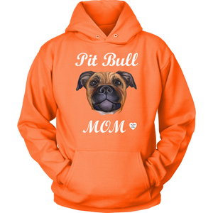 Pit Bull Mom Tan Hoodie Neon Orange