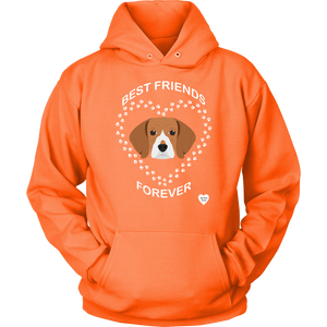 Beagle Best Friends Forever Hoodie Neon Orange