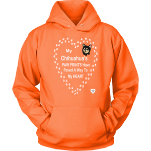 My Chihuahua's Paw Prints - Black - Hoodie Neon Orange