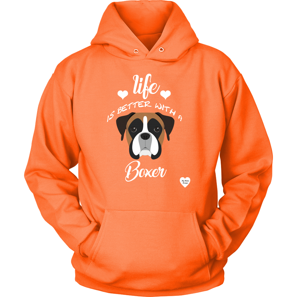Life Is Better With A Boxer Hoodie Neon Orange
