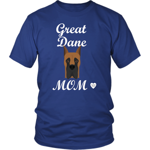 great dane mom royal blue t-shirt