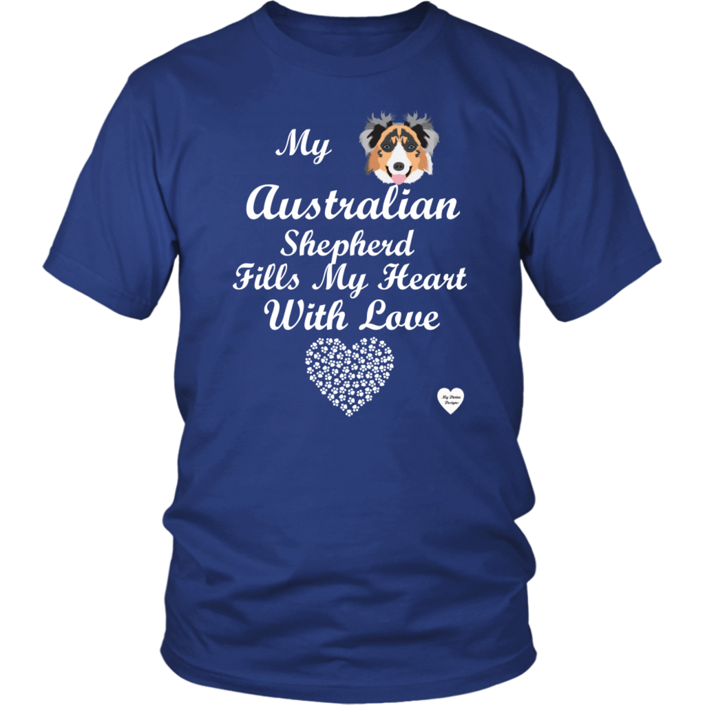 australian Shepherd fills my heart t-shirt royal blue