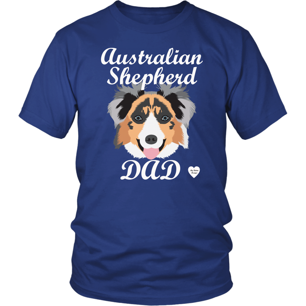 australian shepherd dad t-shirt royal blue