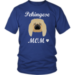 pekingese mom t-shirt royal blue