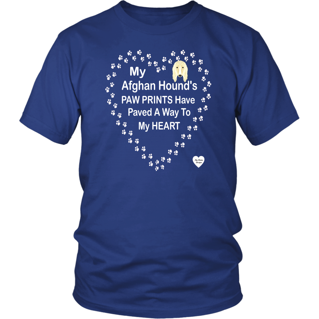 My Afghan Hound's Paw Prints T-Shirt Royal Blue