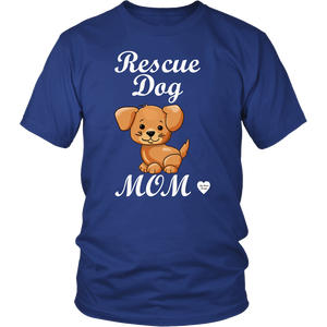 rescue dog mom t-shirt royal blue
