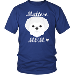 Maltese Mom royal blue t-shirt