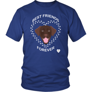 Chocolate Lab Best Friends Forever T-Shirt Royal Blue