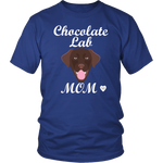 chocolate lab mom royal blue t-shirt