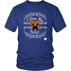 I Love My Boxer T-Shirt Royal Blue