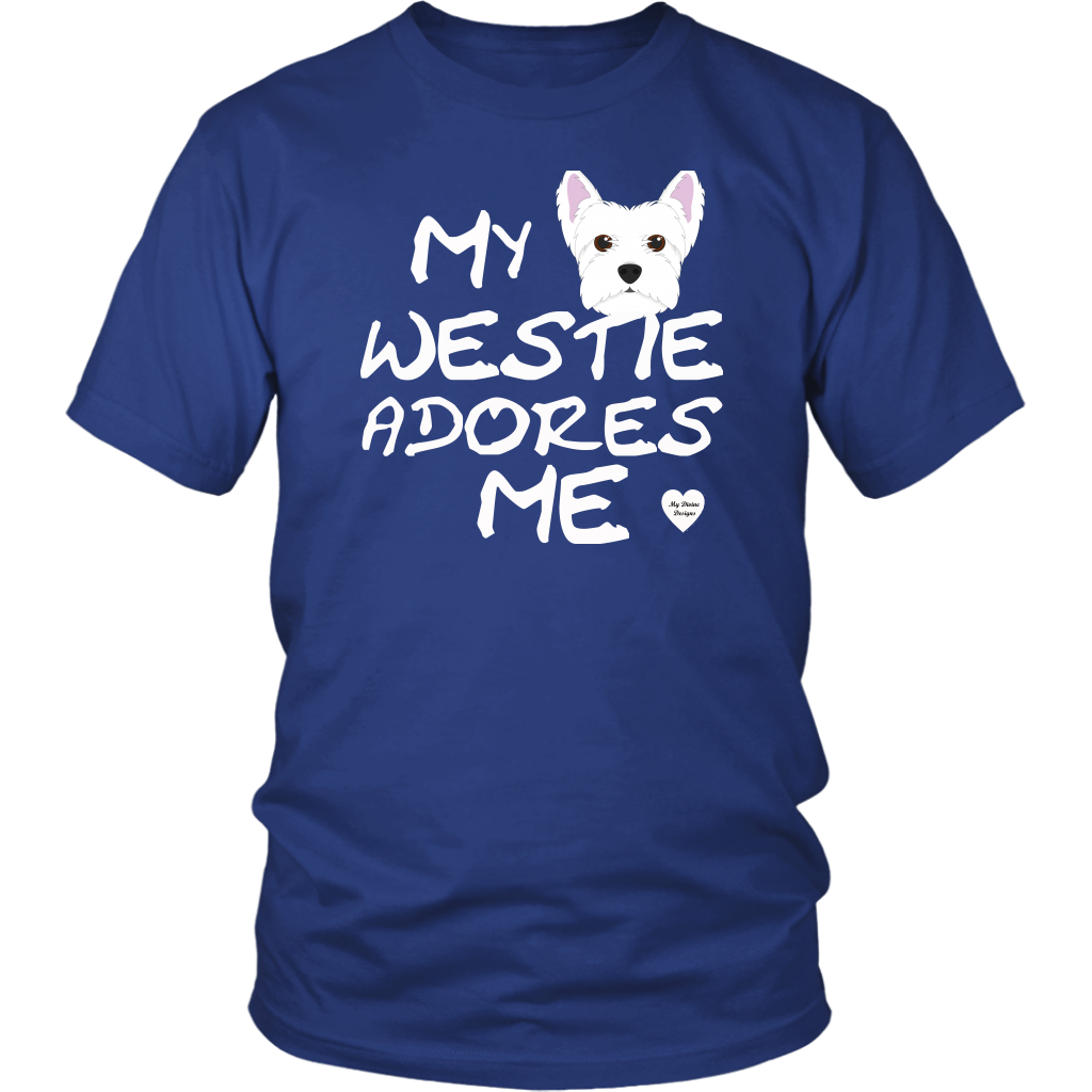 Westie Adores Me T-Shirt Royal Blue