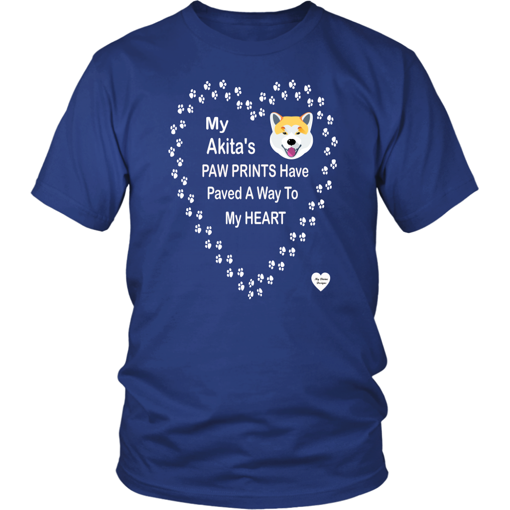 My Akita's Paw Prints T-Shirt Royal Blue