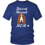 basset hound mom royal blue t-shirt