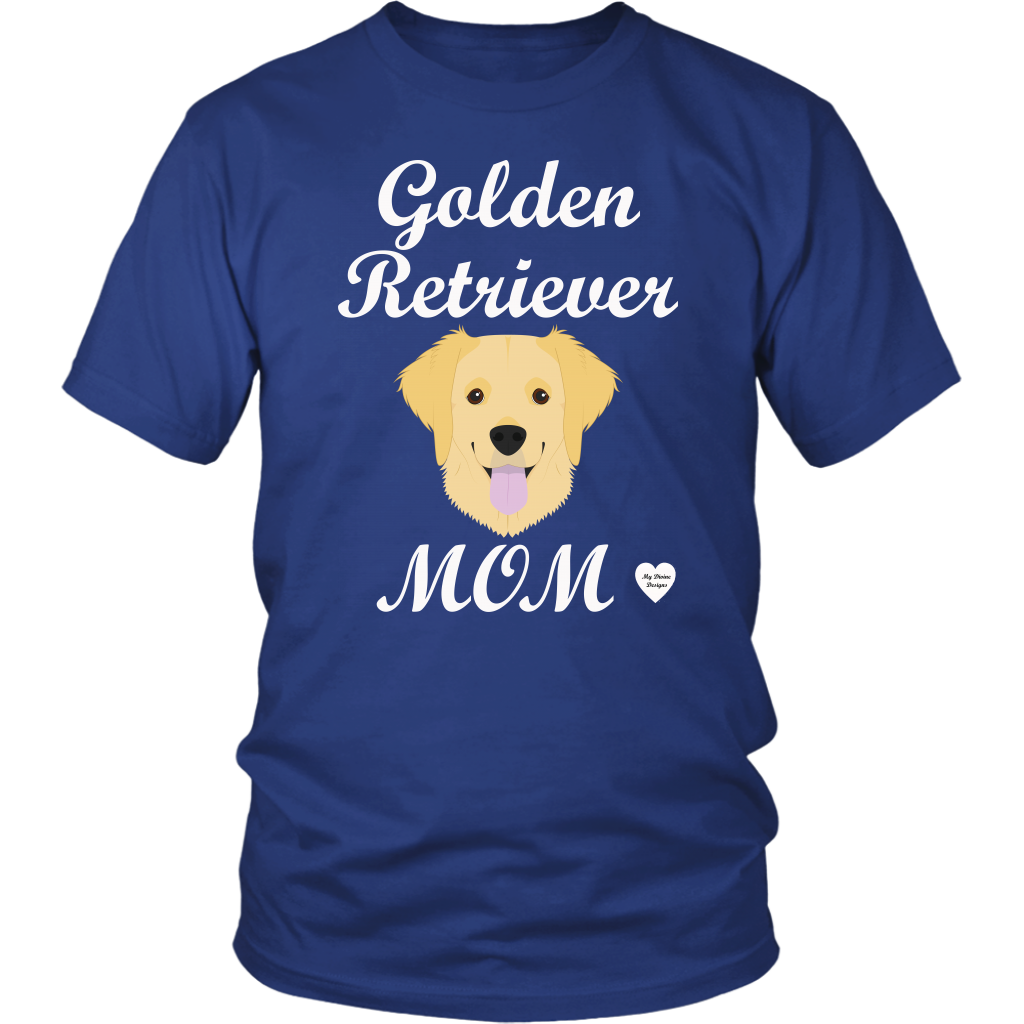 golden retriever mom royal blue t-shirt