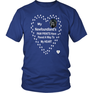 My Newfoundland's Paw Prints T-Shirt Royal Blue