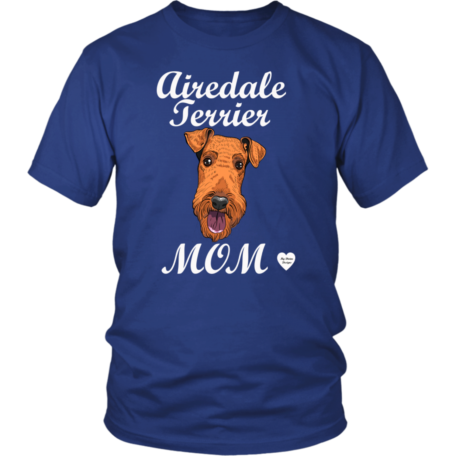 airedale terrier mom t-shirt royal blue