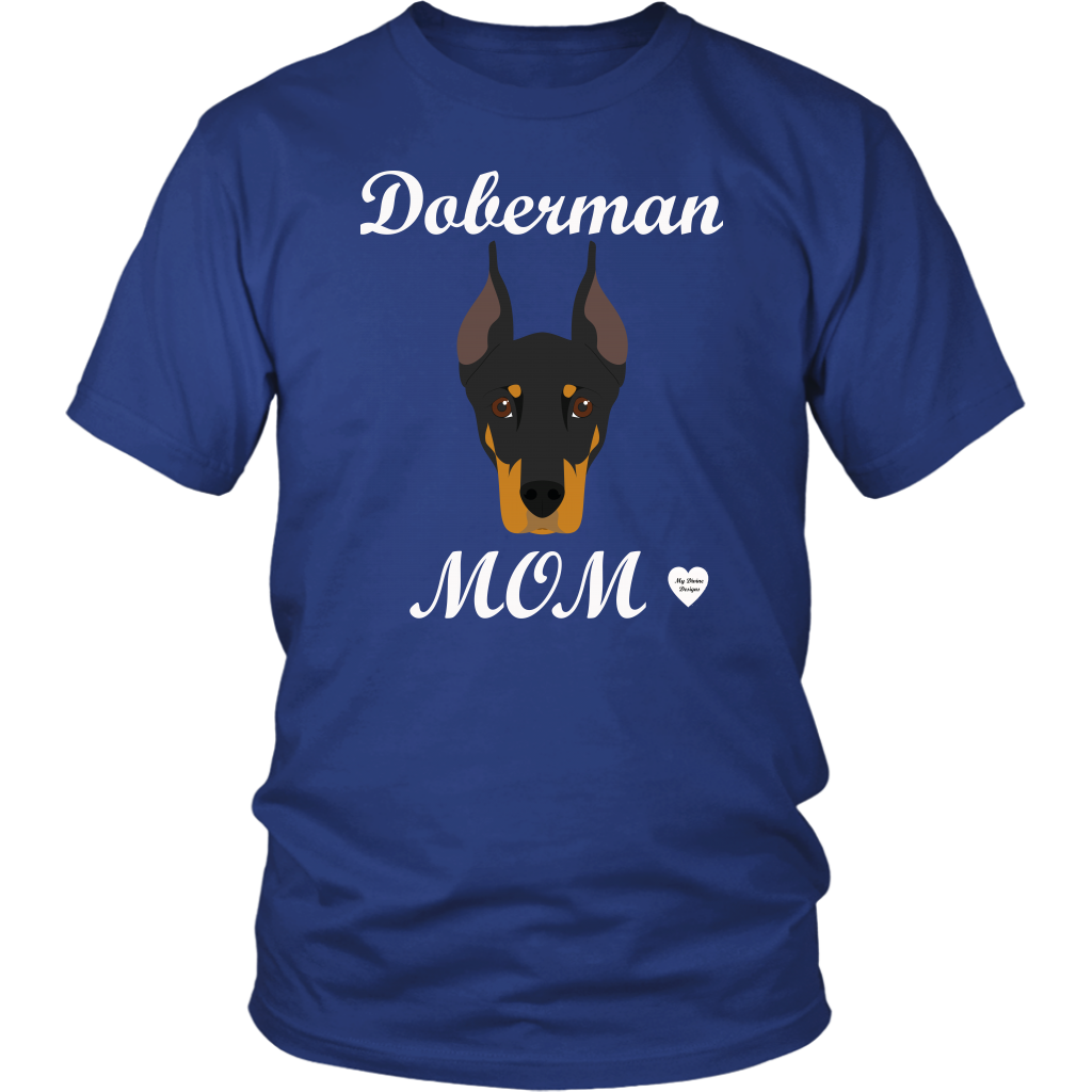 doberman mom royal blue t-shirt