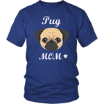 pug mom t-shirt royal blue