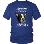 Boston Terrier Mom T-Shirt Royal Blue