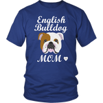 english bulldog royal blue t-shirt