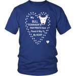 Bull Terrier Paw Prints T-Shirt Royal Blue