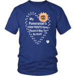 My Pomeranian's Paw Prints T-Shirt Royal Blue