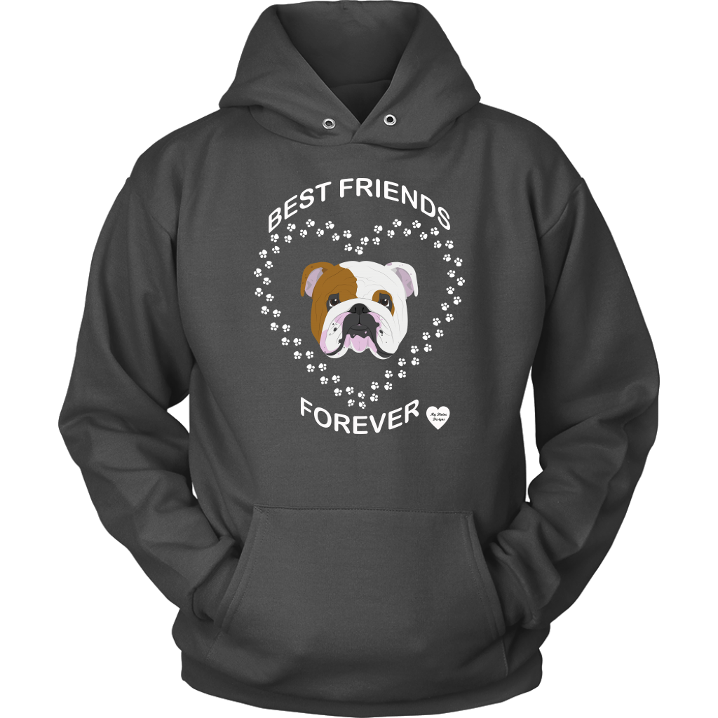 English Bulldog Best Friends Forever Hoodie Charcoal