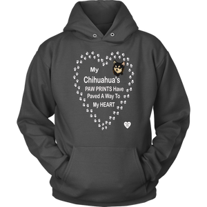 My Chihuahua's Paw Prints -Black - Hoodie Charcoal
