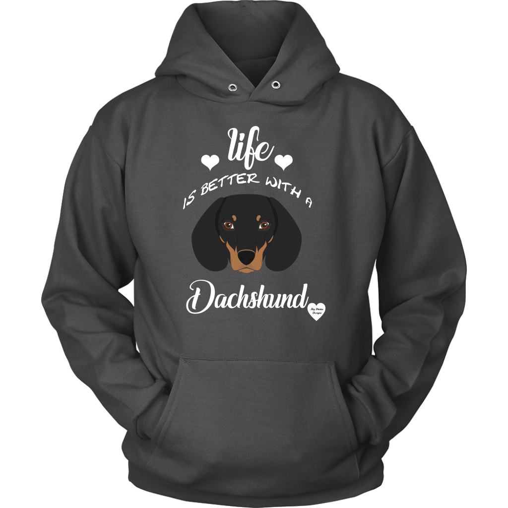 Life Is Better With A Dachshund Hoodie Charcoal