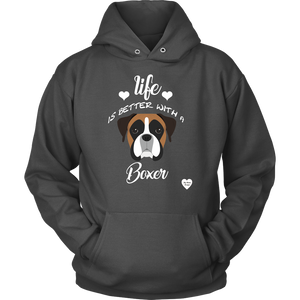 Life Is Better With A Boxer Hoodie Charcoal