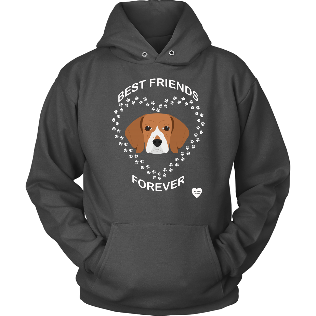 Beagle Best Friends Forever Hoodie Charcoal
