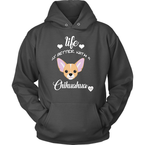 Life Is Better With A Chihuahua Hoodie Charcoal