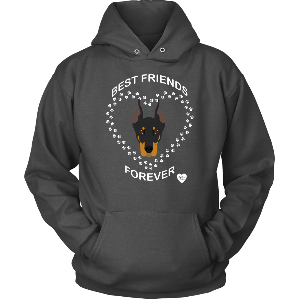Doberman Best Friends Forever Hoodie Charcoal