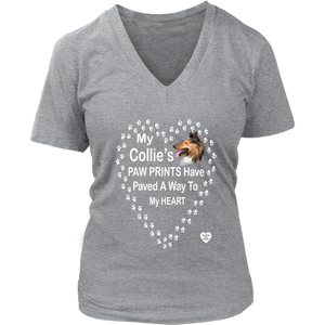 My Collie's Paw Prints V-Neck Grey