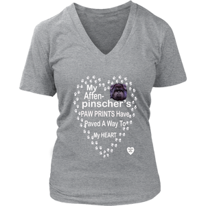 Affenpinscher Paw Prints V-Neck Grey