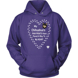 My Chihuahua's Paw Prints - Black - Hoodie Purple