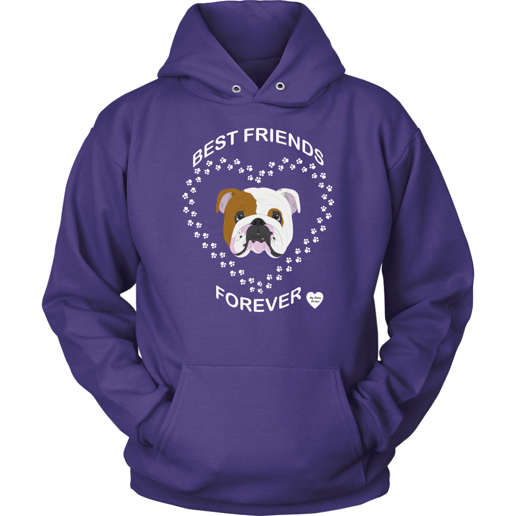 English Bulldog Best Friends Forever Hoodie Purple