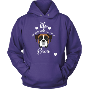 Life is Better With A Boxer Hoodie Purple