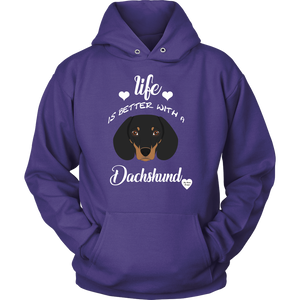 Life Is Better With A Dachshund Hoodie Purple