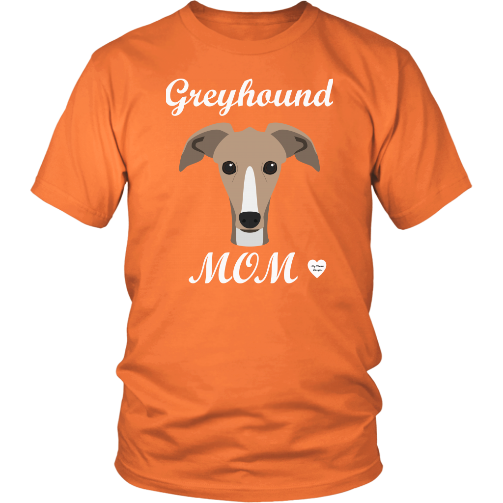 greyhound mom orange t-shirt