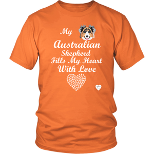 australian shepherd fills my heart t-shirt orange
