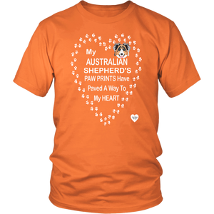 australian shepherd paw prints t-shirt orange