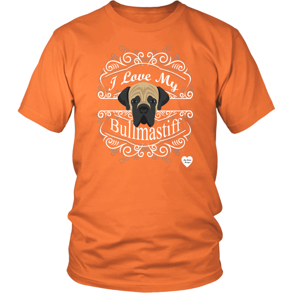 I Love My Bullmastiff T-Shirt Orange
