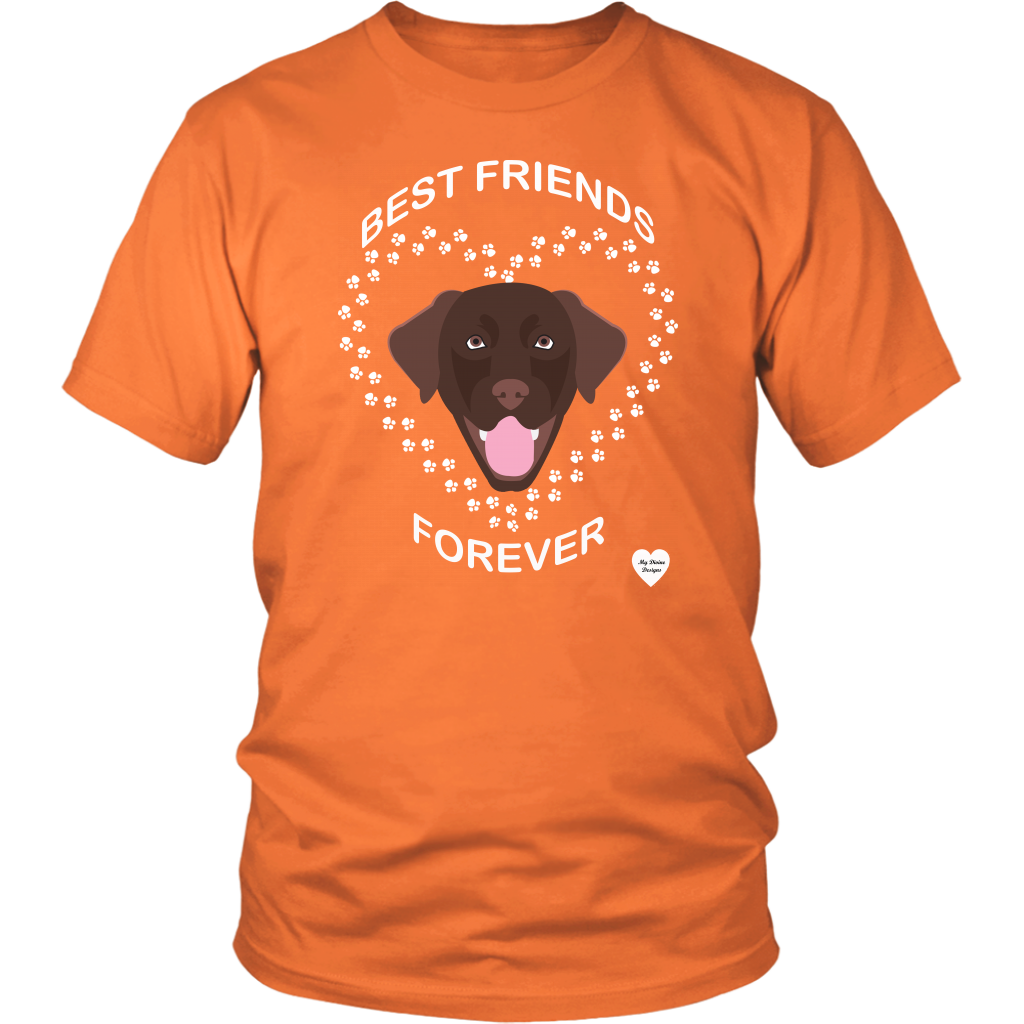 Chocolate Lab Best Friends Forever T-Shirt Oriange
