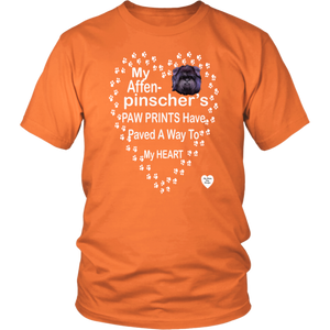 Affenpinscher Paw Prints T-Shirt Orange