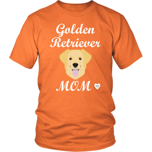 golden retriever mom orange t-shirt