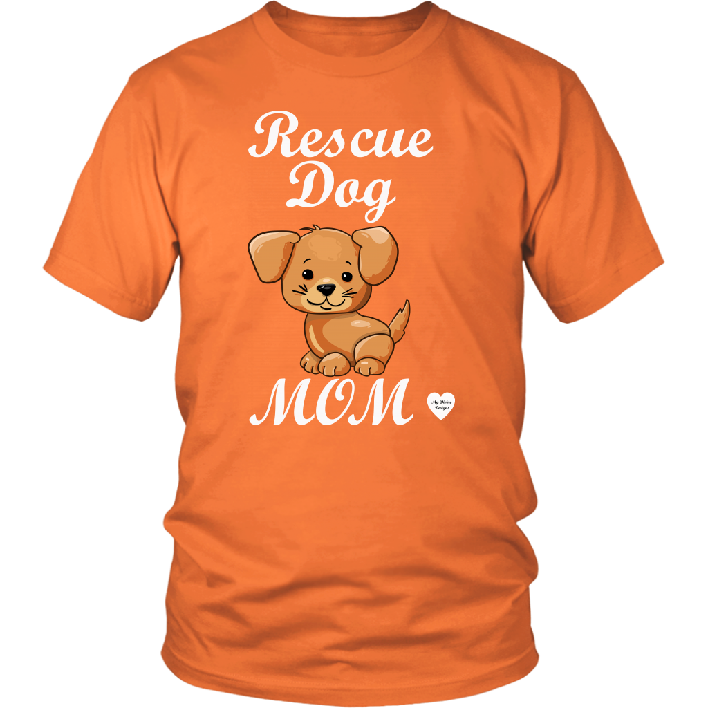 rescue dog mom t-shirt orange