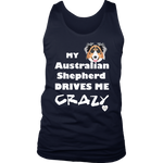 australian shepherd drives me crazy men's tank top navy