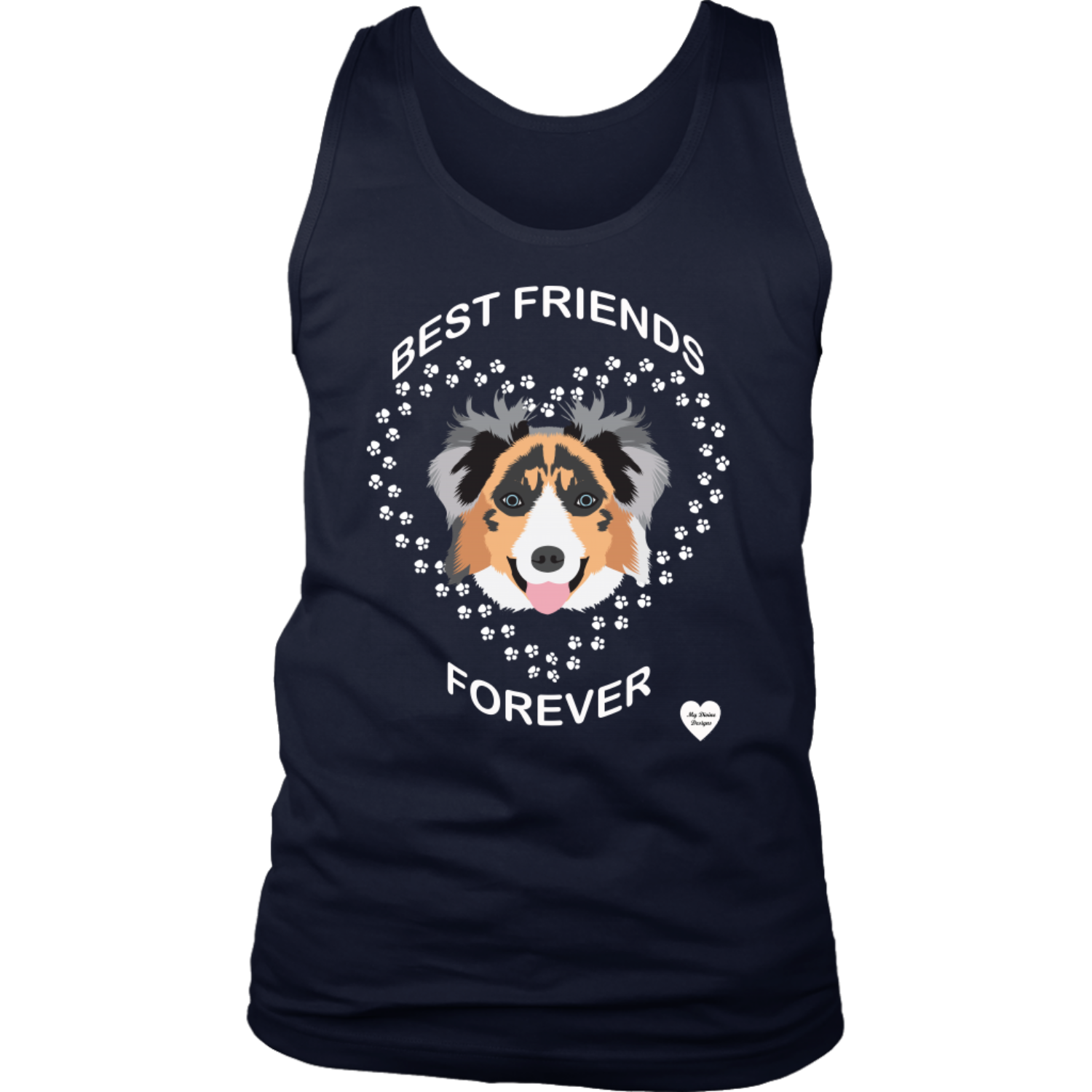 australian shepherd best friends tank top navy